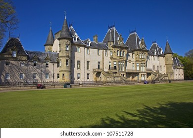 Left Side view of the back of Callendar House in Callendar Park, Falkirk, Central Scotland, UK.
