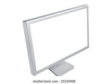 Left side view of computer monitor isolated on white background