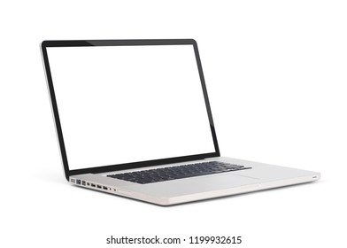 Left side view of Modern slim design laptop with usb and headphone port, blank screen, Aluminum material, isolated on white background with clipping path