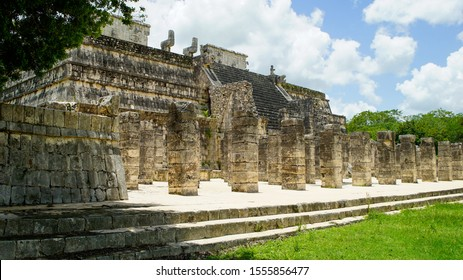 Left side view of the Temple of warriors and a thousand pillars in Chichen Itza, Yucatan, Mexico. One of the most important Mayan ruins in the world and world heritage.