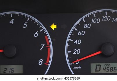 Left turn signal On car dashboard