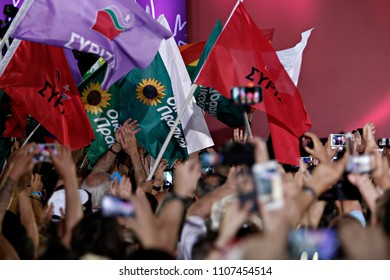 Leftist Syriza party supporters during a speech of leader of the party Alexis Tsipras at a pre-election rally in Athens, Greece on Sep. 18, 2015