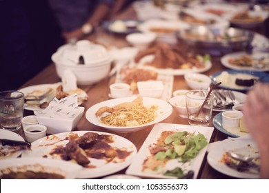 Leftover food after party
