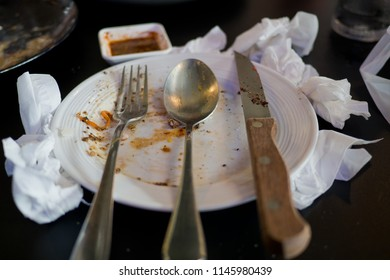 Leftover food after party, dirty food