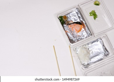 leftover food garbage in the sea , Salmon that was eaten