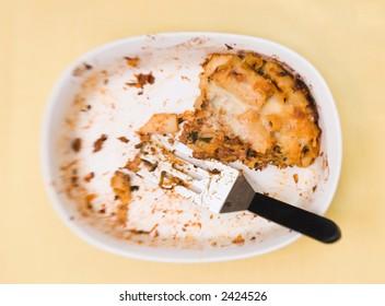 Leftover pasta in baking dish