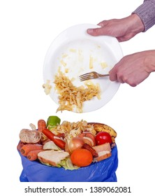 leftover and uneaten food wasting wastage garbage with fruits vegetables