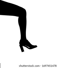Leg of a beautiful girl with a shoe, silhouette contour isolated.