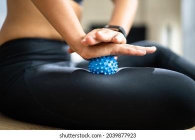 Leg Massage With Trigger Point Spiky Massage Ball. Myofascial Release
