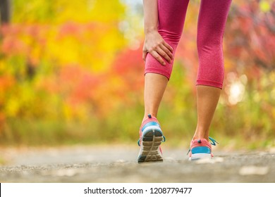 Leg muscle cramp calf sport injury outdoors exercise.