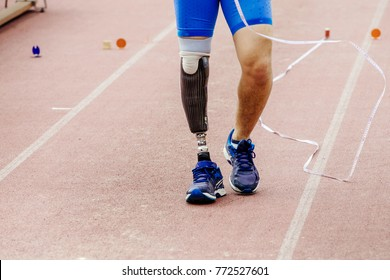 leg prosthetic of athlete paralympic disabled  long jump competitions