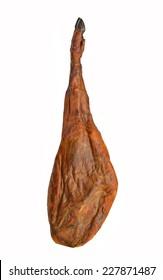 Leg of Serrano ham isolated on white background.