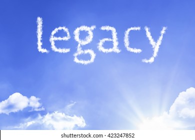 Legacy cloud word with a blue sky