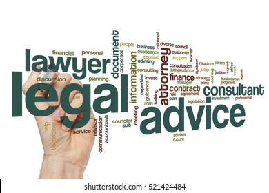 Legal advice word cloud concept