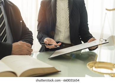 Legal advisor are advise manager on business law at law office. Concept of legal services.