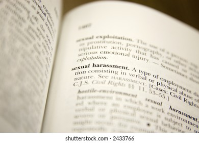 The legal definition of sexual harassment in a book