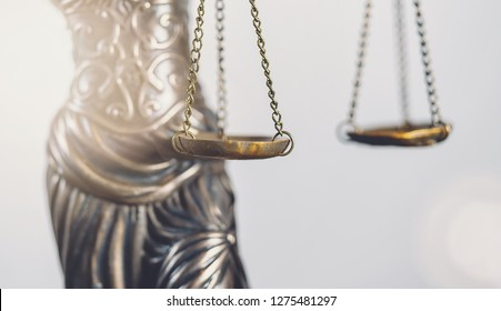 Legal law concept image, abstract close up detail of scales of justice