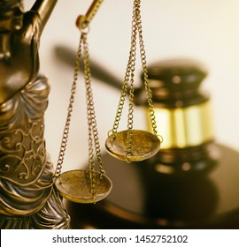 Legal law concept image, scales of justice and gavel.