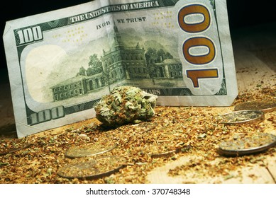 Legal Marijuana Weed Cannabis Business, Buds and a Hundred Dollar Bill