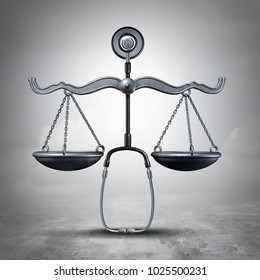 Legal medicine and malpractice law as a stethoscope shaped as a justice scale as a medical legislation symbol as a 3D illustration.