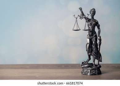 Legal office of lawyers and attorney. Statue of Justice