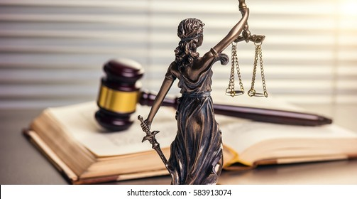 Legal office of lawyers legal bronze model statue of themis goddess of justice with gavel