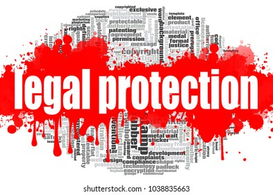 Legal Protection word cloud concept on white background, 3d rendering.