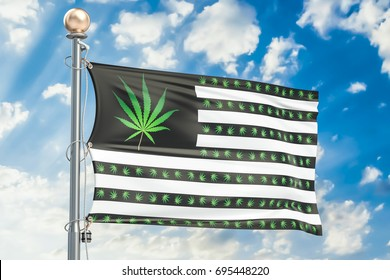 Legalization of cannabis in US concept. USA flag with marijuana leafs, 3D rendering