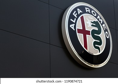Leganes, Spain - SEPTEMBER 1, 2018:  Alfa Romeo dealership logo. Alfa Romeo is an italian automobile manufacturer