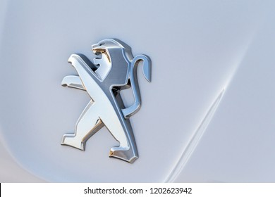Leganes, Spain - SEPTEMBER 1, 2018:  Peugeot sign in Peugeot's car. Peugeot is a french automobile manufacturer