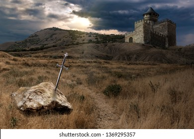 legend of King Arthur and his escalibur sword thrown into stone, against the backdrop of a knight s castle, collage