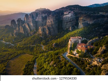 Legendary aerial view of ancient monasteries and breathtaking picturesque valley and landmark canyon of Meteora, Greece