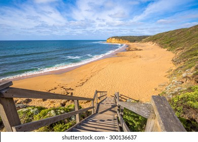 The legendary Bells Beach of the movie Point Break, near Torquay, gateway to the Surf Coast of Victoria, Australia, here starts the Great Ocean Road. this reserve includes Bells Southside and beaches.