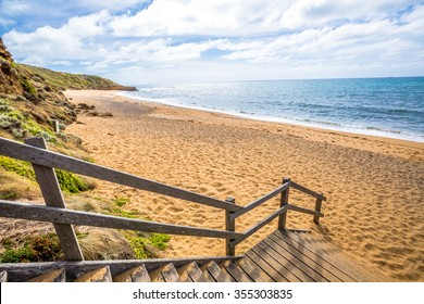 The legendary Bells Beach of the movie Point Break, near Torquay, gateway to the Surf Coast of Victoria, Australia, here starts the Great Ocean Road. he  Reserve includes Bells Southside and beaches.