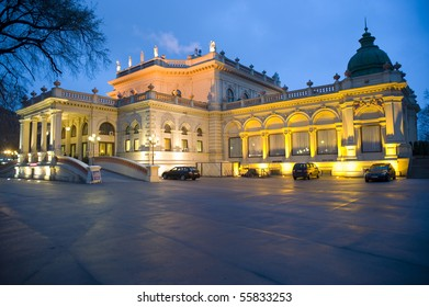 Legendary Kursalon Huebner building in Vienna/ Austria at night with beautiful lights around