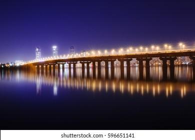Legendary metal Paton bridge at night at Kyiv