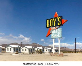 Legendary Roy's Motel and Cafe in Amboy, California, USA. Roy's Motel and Cafe was a classic stop for gasoline or rest in the Mojave desert on historic Highway Route 66.  07/13/2019