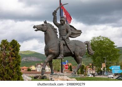 Miloš Obilić  legendary Serbian knight XIV, statue on horse in Gracanica, near Pristina, Kosovo, Serbia