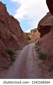 Legendary steep downhill access road to the white rim road in Canyonlands National Park, Utah