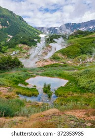 The legendary Valley of Geysers in the summer on a cloudy day - Kamchatka, Russia