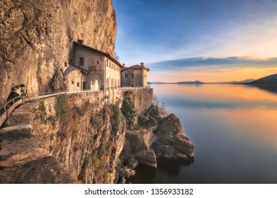 [Leggiuno, Italy - Apr 01 2019]: Hermitage of Santa Caterina del Sasso, Lake Maggiore, Lombardy, Italy