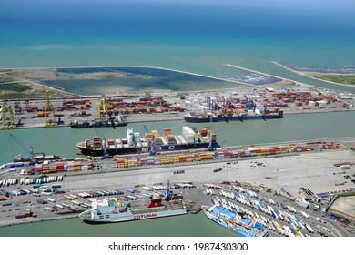 Leghorn, Italy - May 20 2021: aerial view of the commercial port.