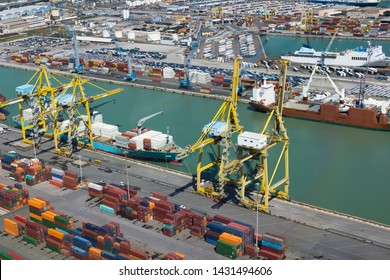 Leghorn - Livorno, Italy - April 15 2019: aerial view of the commercial port