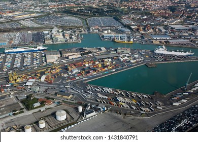 Leghorn, Livorno, Tuscany, Italy - April 16 2019: aerial view of the commercial port
