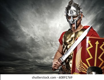 Legionary soldier over stormy sky