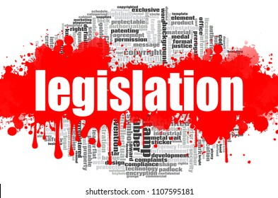 Legislation word cloud concept on white background, 3d rendering.