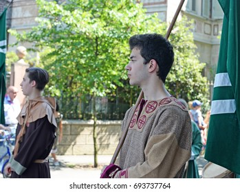 LEGNANO, ITALY - MAY 28, 2017: Dressed up volunteer actors at the annual pageant connected with the palio since 1935, a recall of the battle of Legnano on May 29th 1176