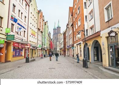 LEGNICA, POLAND - FEBRUARY 4, 2017: Downtown of Legnica
