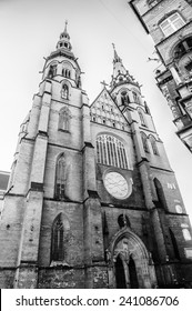 LEGNICA, POLAND - JUN 16, 2014: St Paul and Petr cathedral in  Legnica in Poland.  Legnica is a former capital of the the Legnica Voivodeship  (1 June 1975 - 31 December 1998)