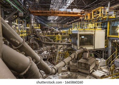 LEGNICA, POLAND - MARCH 4, 2020. KGHM Cooper Smelter Legnica.   Interior of production hall and technology line.